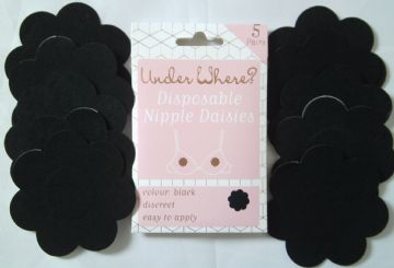 5 Pairs BLACK Stick On Nipple Daisies Modesty Breast Cover